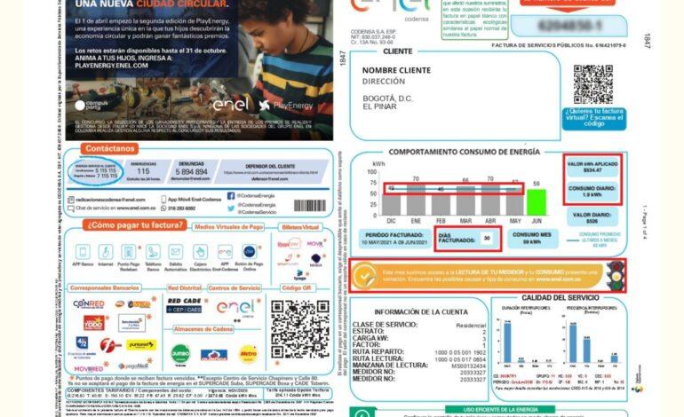 Enel-Codensa ha implementado novedades en la factura de energía